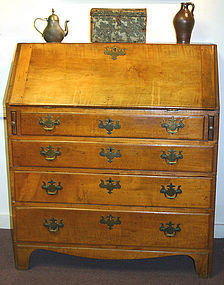 Chippendale maple slant front desk, New England