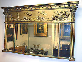 Antique classical gilt over mantel mirror with chariot