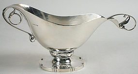Georg Jensen sterling silver sauce boat and ladle