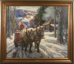 Thomas R. Curtin painting - Maple Sugaring, Vermont