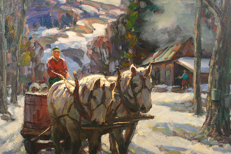 Thomas R. Curtin painting - Maple Sugaring, Vermont