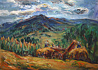 Marion Huse painting - Haying, Vermont