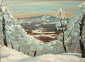 Churchill Ettinger skiing painting, Vermont
