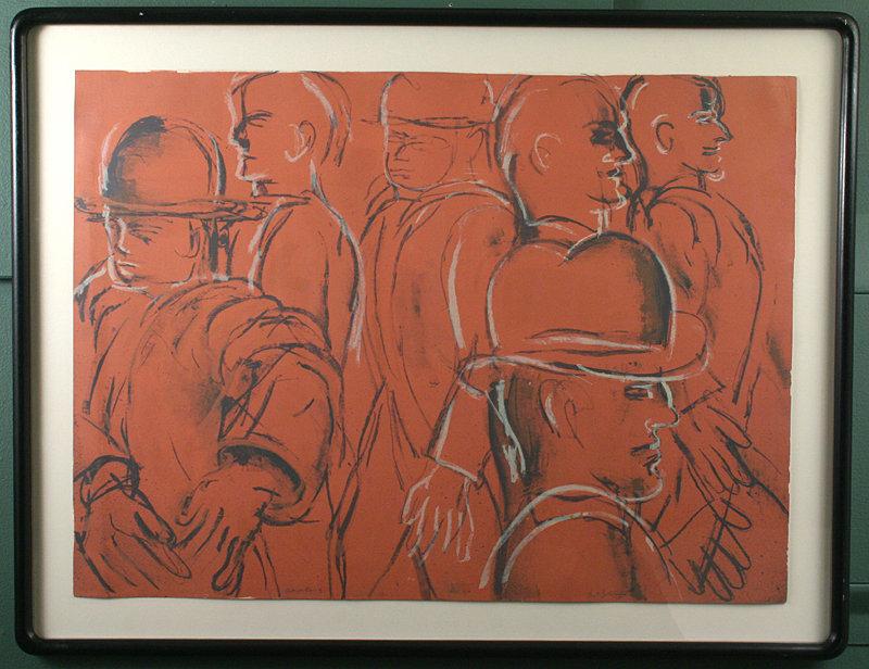 Lester Johnson original silk screen- Men in Bowler Hats