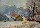 Thomas R. Curtin painting -Vermont farm in winter