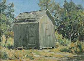 Horace Brown Vermont paintings - Saltbox & Outbuilding