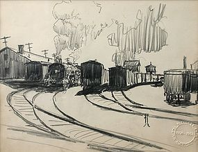 Walton Blodgett pencil drawing of Train station