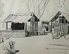 Walton Blodgett pencil drawing of an artist at work