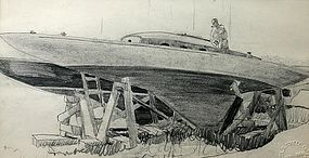 Walton Blodgett pencil drawing of a boat in dry dock