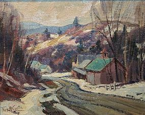 Thomas R. Curtin painting - Vermont road in winter