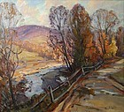 Thomas R. Curtin painting - Mountain Road in Autumn