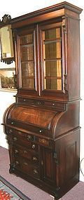 Victorian walnut diminutive secretary bookcase