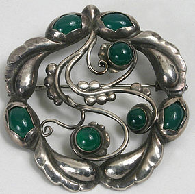 Georg Jensen silver chrysoprase brooch, early mark