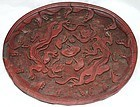 Chinese Yuan dynasty carved red lacquer ware tray