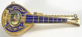 Reuge musical silver and enamel mandolin brooch, Swiss - Love Story
