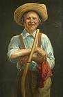 Thomas Waterman Wood portrait painting - Farmer with scythe