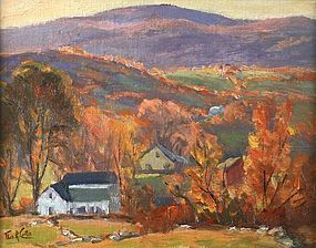 Thomas R. Curtin painting - Autumn Hillside Farm