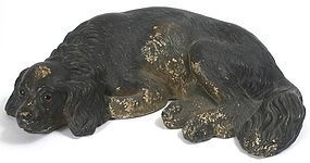 Early antique chalk ware spaniel dog figure