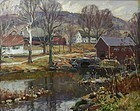 Thomas R. Curtin landscape painting - Mill Pond in November