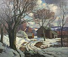 Thomas R. Curtin landscape painting - Winter Thaw on the Farm