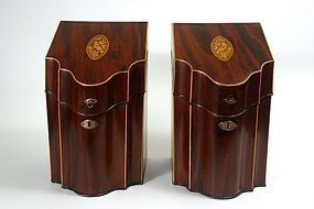 Georgian Hepplewhite period mahogany knife cutlery boxes, c.1800