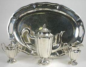 Maciel Mexican sterling silver coffee set with sterling tray