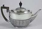 English Edwardian sterling silver teapot, Hutton and Sons