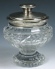 English cut glass crystal pedestal dresser jar, sterling silver cover
