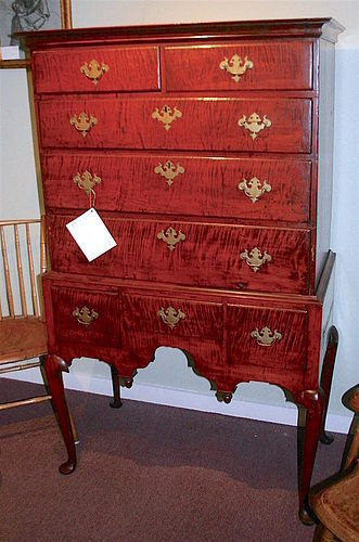 Antique NH Queen Anne tiger maple highboy - desirable diminutive size