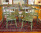 Six antique Hitchcock style floral painted dining room chairs, c.1840