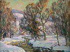 Thomas R. Curtin landscape painting - Forest Stream in Winter