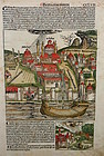 Nuremberg Chronicle double sided leaf depicting Lightning Strike, 1493