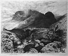 Thomas Moran signed etching Bridge in the Pass of Glencoe, Scotland