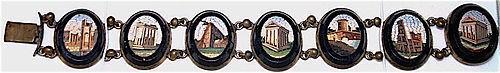 Antique Italian micro mosaic Roman ruins bracelet