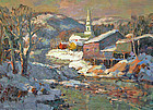 Thomas R. Curtin  Vermont painting - Village in Winter