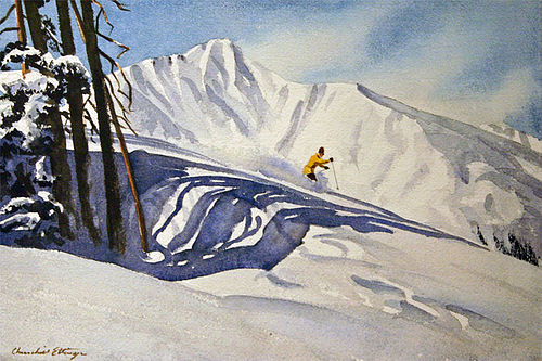 Churchill Ettinger painting of a solitary skier
