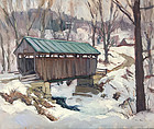 Eric Tobin painting - Codding Hollow Vermont covered bridge