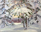 Eric Tobin painting - Snowy Woods, Johnson, Vermont
