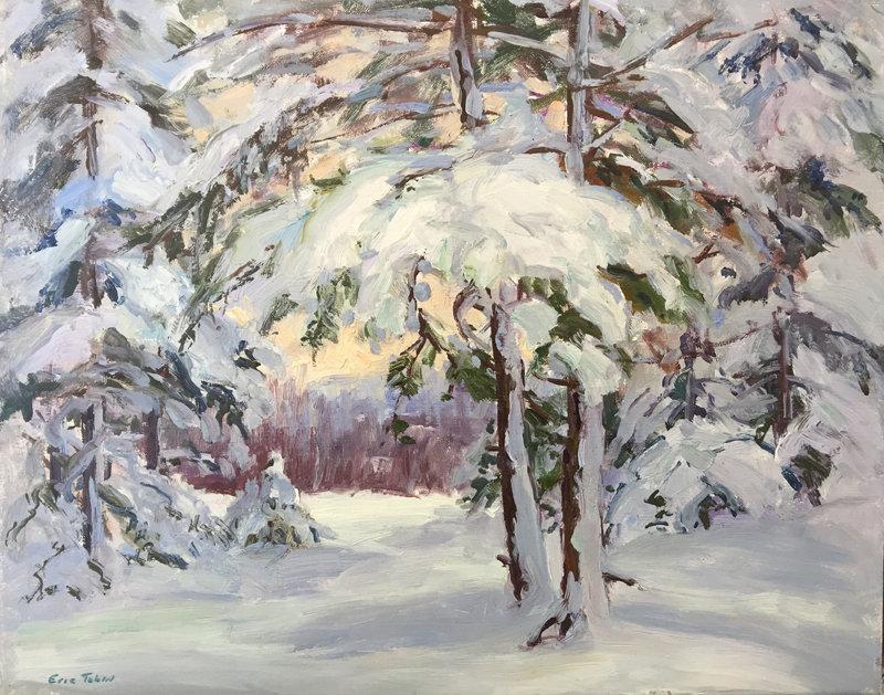 Eric Tobin Painting Snowy Woods Johnson Vermont Item 1352136