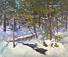 Eric Tobin painting - Winter Woods with stream, Vermont