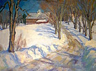 Eric Tobin painting - Winter Haven with red barn, Vermont
