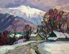 Thomas R. Curtin  Vermont painting - Farm and Mt. Mansfield in winter