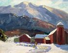Thomas R. Curtin landscape painting - Red Barns - Mount Mansfield