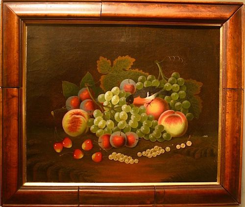 Continental still life painting of fruit with bird, 18th century
