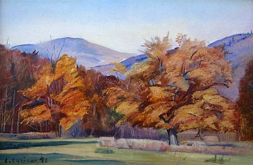 Luigi Lucioni original landscape painting - Autumn Maples in Vermont