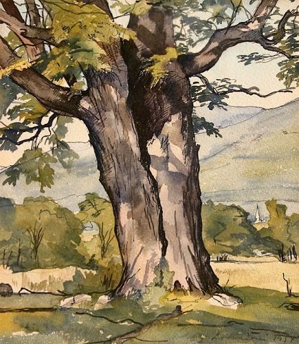 Luigi Lucioni original watercolor landscape - The Enduring Maple