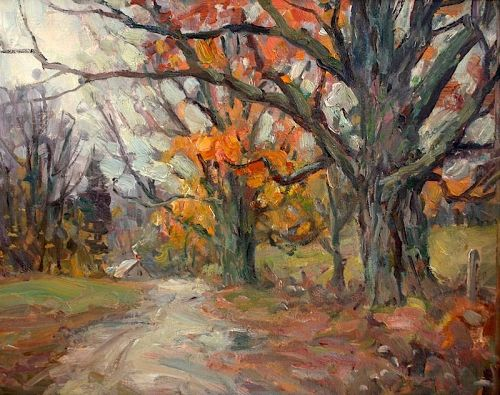 Thomas R. Curtin landscape painting - Country Road in Autumn
