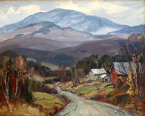 Thomas R. Curtin landscape painting - Mt. Mansfield and farm in autumn