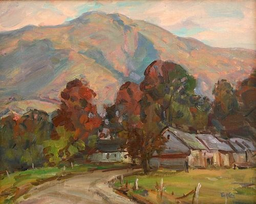 Thomas R. Curtin landscape painting - Fall colors on Mt. Mansfield, VT