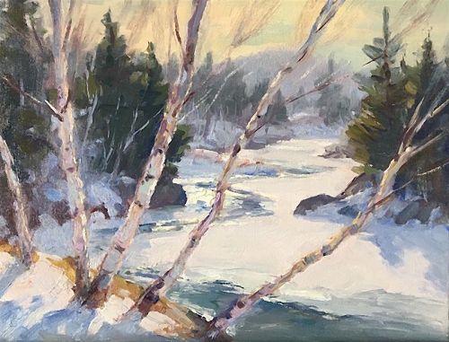 Eric Tobin oil painting - Winter birches on Lamoille River, VT